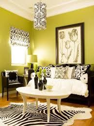 Zebra Rug Living Room Small Living Room With Sage Green Walls And Damask Roman Shade And