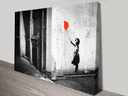 on wall art prints australia with banksy balloon girl black white print on canvas