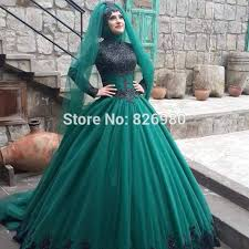 long sleeve hijab islamic wedding dress 2017 black green two color