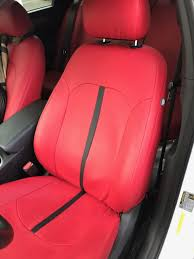 2018 hyundai sonata custom front seat covers in leatherette red and double stitching
