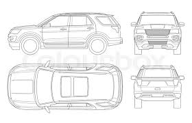 car outline front. Beautiful Car Outline Offroad Write Car Or Modern VIP Transport Offroad Truck Template  Vector Isolated On White View Front Rear Side Top Intended Car Front A