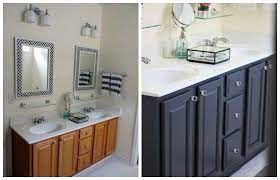 Tips And Ideas How To Update Oak Or Wood Cabinets Paint Stain And More Oak Bathroom Cabinets Painting Bathroom Cabinets Oak Bathroom Vanity