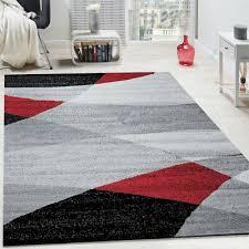 large living space rug curved waves design modern grey red black designer carpet