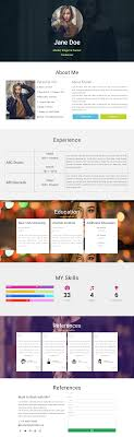 Cv Resume One Page Website Elementor Layout Template Free