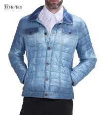 Hoffen 2017 Fashion Design Spring jacket Mens Padded Jackets Turn ... & Hoffen 2017 Fashion Design Spring jacket Mens Padded Jackets Turn Down  Collar Denim Look Waterproof Men Quilted Coat MJ16W 1009-in Parkas from  Men's ... Adamdwight.com