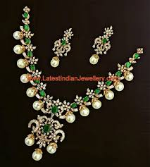 Hyderabad Gold Designs Gorgeous Bridal Diamond Set With Emeralds And Hyderabad