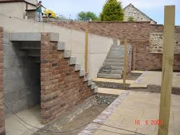 concrete retaining wall and stairs