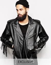 reclaimed vintage reclaimed vintage leather biker jacket with fringing
