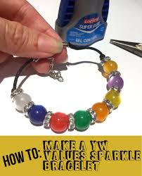 how to make a young women values sparkle bracelet
