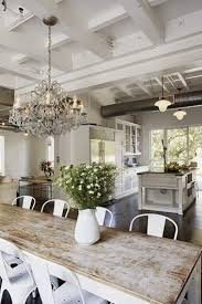 rustic white dining table. Plain Table Rustic Farmhouse Style White And Reclaimed Wood Crystal Chandelier  Airy Space Intended White Dining Table T