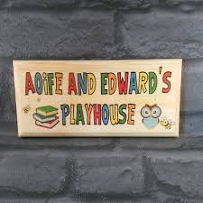 details about personalised playhouse sign colourful childrens kids plaque gifts treehouse