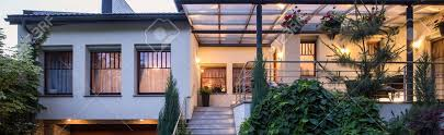 view modern house lights. Simple House Front View On Luxurious Modern House With Veranda Stock Photo  43065753 Inside View Modern House Lights
