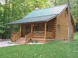 Modish Small Log Homes Designs With Unfinished Wood Front Steps Small Log Home Designs
