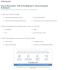 quiz worksheet gift of the magi by o henry synopsis  print the gift of the magi by o henry summary theme analysis worksheet