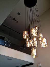 Stair Lights Lowes Furniture Modern Glass Staircase Custom Chandelier Blown