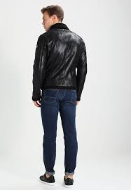 lined collar zip zip pockets inside pocket armani exchange faux leather jacket black arc22l001 q11 dvcuyyz 108 80
