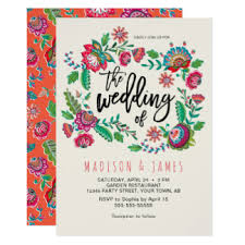 mexican wedding invitations. folk flowers | boho chic wedding invitation mexican invitations l