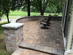 unilock paver patio and column