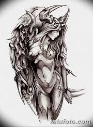 эскизы тату девушка демон 08032019 009 Tattoo Sketches