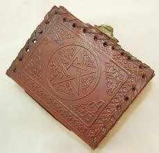 handmade leather pocket journal mini diary pentagram embossed blank book of shadows wicca