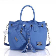 Coach Satchels Drawstring Bags Leather Royal Blue