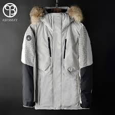 asesmay 2018 men down jacket mens winter coat parka thick warm goose feather white gray duck
