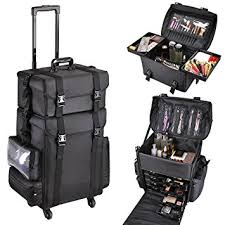 aw 2in1 black soft sided rolling makeup case oxford fabric cosmetic 15x11x25 train bag with