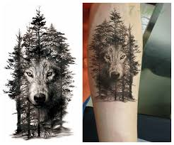 18 Design Vodotěsný Dočasné Tetování Nálepka Lesní Vlk Vody Převodu