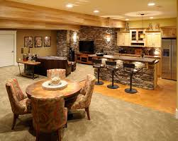 Decorations:Cool Finished Remodeling Basement Idea For Old Home Design  Rustic Small Basement Bar With