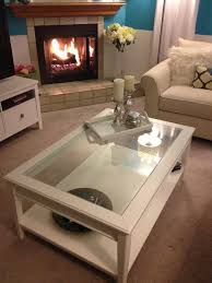 ... Clear Traditional Rectangle Glass Coffee Table Ikea With White Painted  Wood Shelf And Legs ...