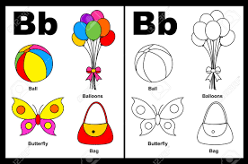 wonderful alphabet coloring book kids page with outlined clip arts to color