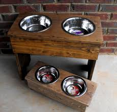 dog bowl stand large stained wooden 18 by turquoisewoodworks