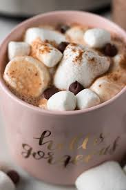 hot chocolate with marshmallows and whipped cream. Brilliant Marshmallows This Slow Cooker Hot Chocolate Recipe Is Creamy Dreamy Chocolatey And In With Marshmallows And Whipped Cream