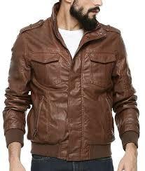 mens chocolate brown er biker leather jacket