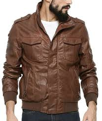 mens chocolate brown er biker leather jacket