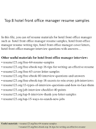 Top 8 hotel front office manager resume samples In this file, you can ref  resume ...