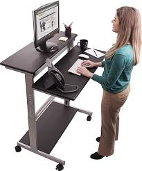 com 40 black shelves mobile ergonomic stand up desk computer workstation kitchen dining