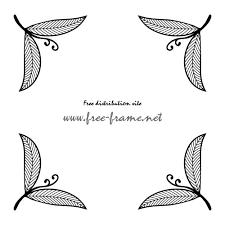 モノクロの葉っぱのイラストのコーナーフレーム枠 無料商用可能