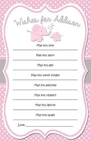 Wishes For Baby Template Pink And Grey Elephant Baby Shower Wishes Cards Printable Animal