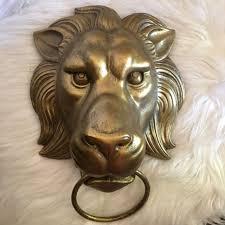 lion head art wall hanging home garden sculpture antique gold finish