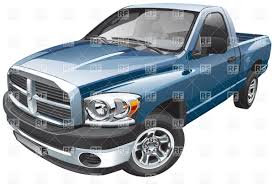 Blue full-size pickup truck Vector Image of Transportation ...