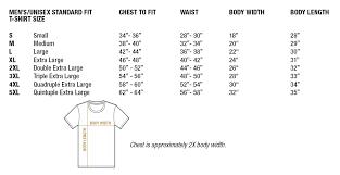 Mens Unisex Standard Fit T Shirt Size Chart Wandering I Store
