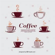 coffee cup silhouette vector. Plain Cup Different Types Of Cups With Hot Coffee To Coffee Cup Silhouette Vector