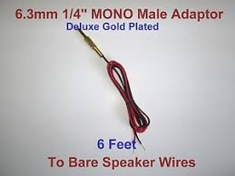 mm male mono adaptor jack to speaker wire receiver image is loading 6 3mm 1 4 male mono adaptor jack