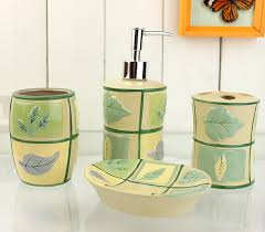 brown and green bathroom accessories. Perfect Bathroom Grid Leaves Pattern Yellow Bath Accessory Sets Contemporary Green  Bathroom Accessories And Brown N