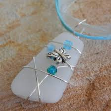 wire wrapped recycled glass pendant. Eco Friendly Recycled Stained Glass Pendant Necklace, Wire Wrapped With Butterfly, Gift Idea Accessories For Her A