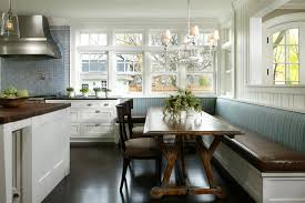 kitchen bench seating Kitchen Traditional with banquette blue tile  backsplash. Image by: Streeter Associates Inc