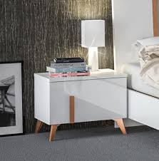 venus collection modern bedside cabinets white shiny gloss finish copper effect legs