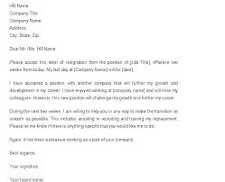 One Week Notice Resignation Letter A Professional Resignation Letter Sample Template Two Weeks