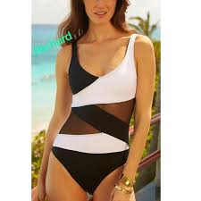 Black And White Sheer Monikini Swimsuit Boutique